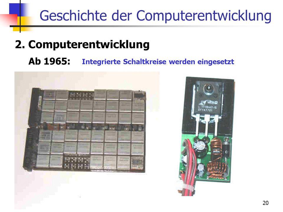 20 Geschichte der Computerentwicklung 2. Computerentwicklung Ab 1965: Integrierte Schaltkreise werden eingesetzt