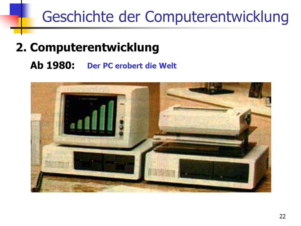 22 Geschichte der Computerentwicklung 2. Computerentwicklung Ab 1980: Der PC erobert die Welt
