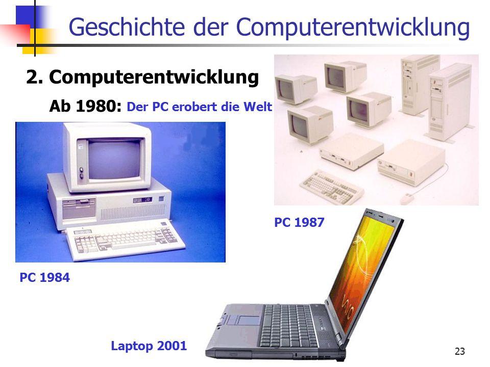 23 Geschichte der Computerentwicklung 2. Computerentwicklung Ab 1980: Der PC erobert die Welt PC 1984 PC 1987 Laptop 2001