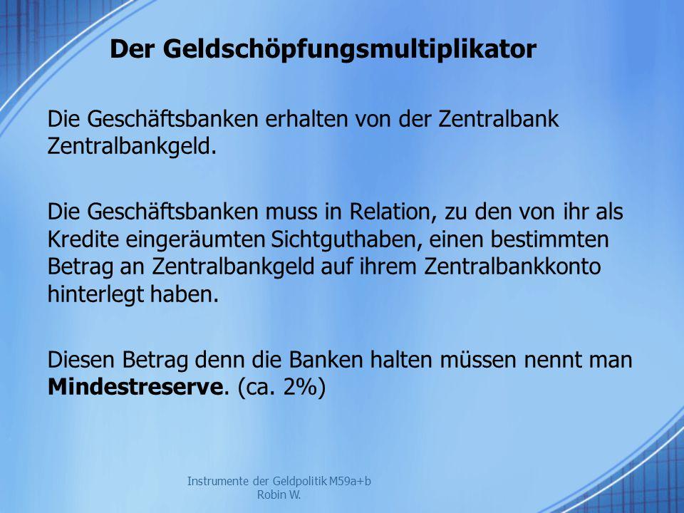 Der Geldschöpfungsmultiplikator Die Geschäftsbanken erhalten von der Zentralbank Zentralbankgeld. Die Geschäftsbanken muss in Relation, zu den von ihr