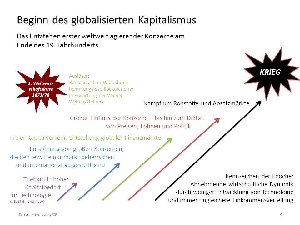 """Die """"Goldenen 20er und große Weltwirtschaftskrise 1929 """"Tanz auf dem Vulkan , Börsencrash und Eskalation Karsten Meier, Juni 2009 4 WELTKRIEG ( 1."""