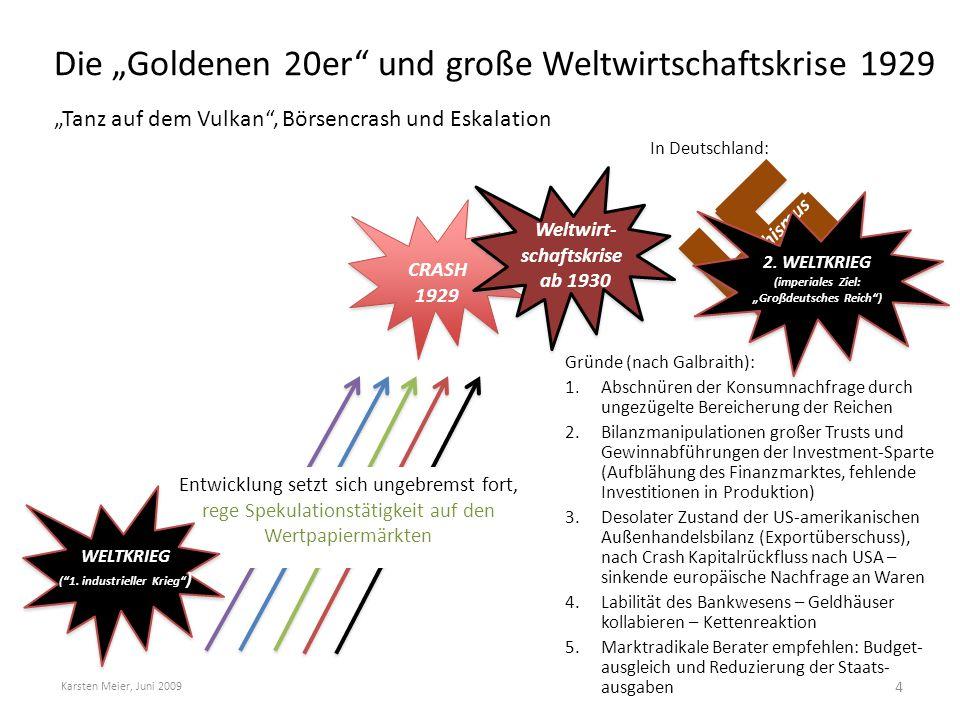 """Die """"Goldenen 20er"""" und große Weltwirtschaftskrise 1929 """"Tanz auf dem Vulkan"""", Börsencrash und Eskalation Karsten Meier, Juni 2009 4 WELTKRIEG (""""1. in"""