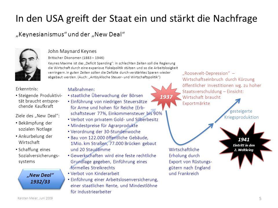 """In den USA greift der Staat ein und stärkt die Nachfrage """"Keynesianismus"""" und der """"New Deal"""" Karsten Meier, Juni 2009 5 Erkenntnis: Steigende Produkti"""