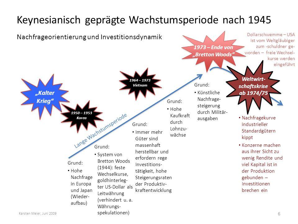 Keynesianisch geprägte Wachstumsperiode nach 1945 Nachfrageorientierung und Investitionsdynamik Karsten Meier, Juni 2009 6 Grund: Künstliche Nachfrage