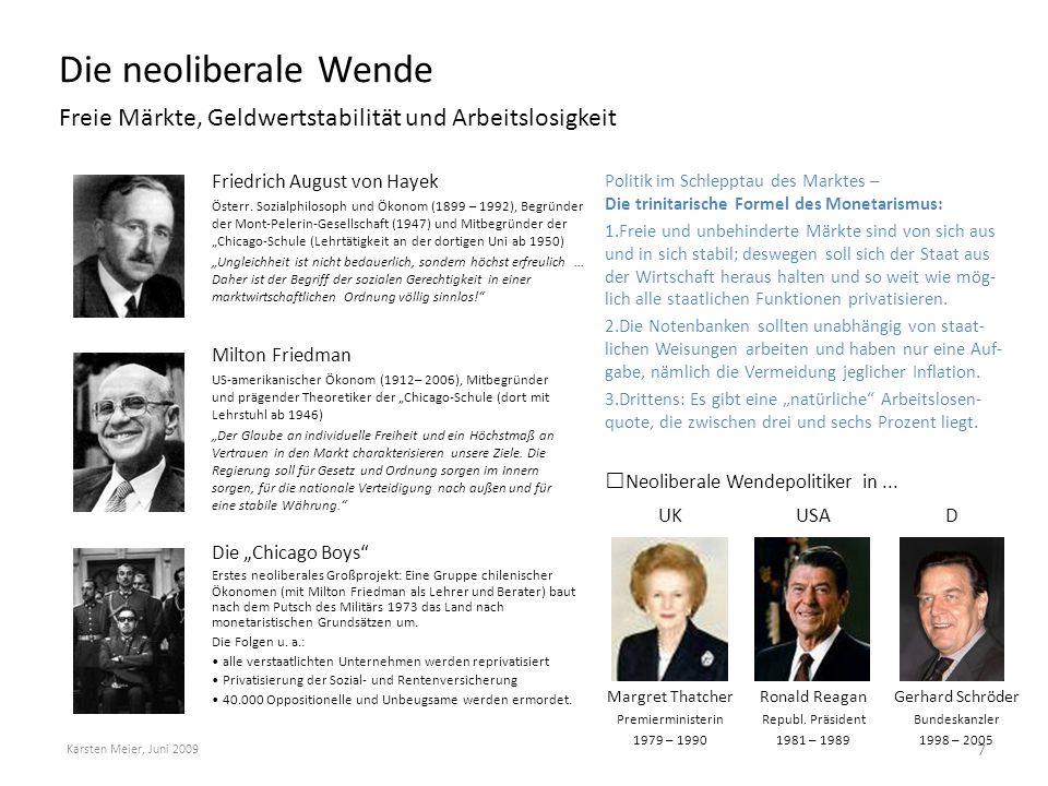 Die neoliberale Wende Freie Märkte, Geldwertstabilität und Arbeitslosigkeit Karsten Meier, Juni 2009 7 Politik im Schlepptau des Marktes – Die trinita