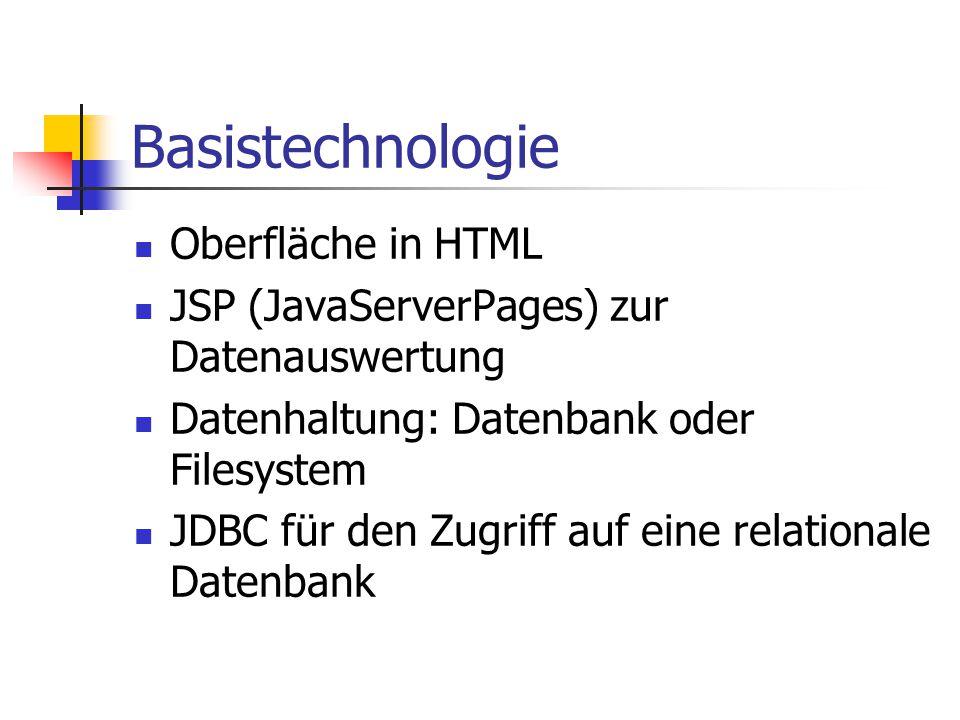 Basistechnologie Oberfläche in HTML JSP (JavaServerPages) zur Datenauswertung Datenhaltung: Datenbank oder Filesystem JDBC für den Zugriff auf eine relationale Datenbank