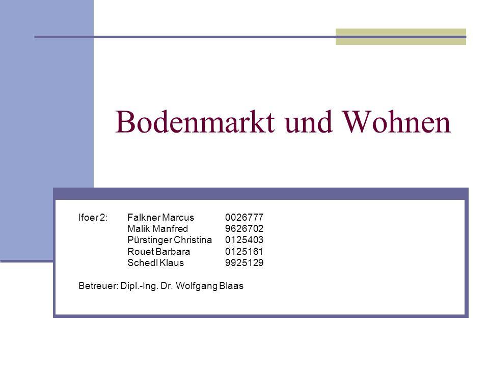 Bodenmarkt und Wohnen Ifoer 2:Falkner Marcus0026777 Malik Manfred9626702 Pürstinger Christina0125403 Rouet Barbara0125161 Schedl Klaus 9925129 Betreuer: Dipl.-Ing.
