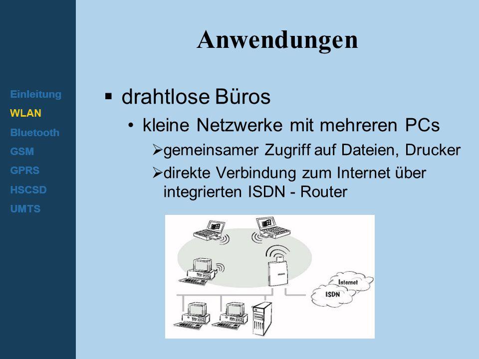 Einleitung WLAN Bluetooth GSM GPRS HSCSD UMTS Anwendungen  drahtlose Büros kleine Netzwerke mit mehreren PCs  gemeinsamer Zugriff auf Dateien, Druck