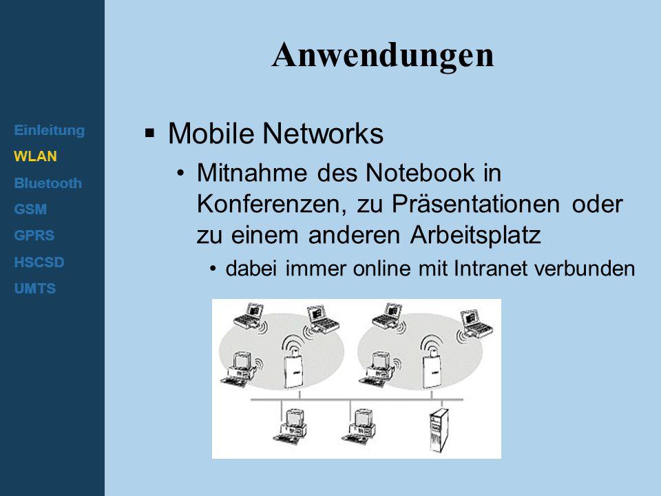Einleitung WLAN Bluetooth GSM GPRS HSCSD UMTS Anwendungen  Mobile Networks Mitnahme des Notebook in Konferenzen, zu Präsentationen oder zu einem ande