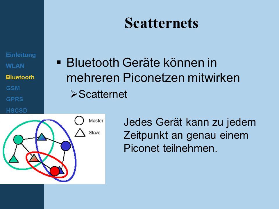 Einleitung WLAN Bluetooth GSM GPRS HSCSD UMTS Scatternets  Bluetooth Geräte können in mehreren Piconetzen mitwirken  Scatternet Jedes Gerät kann zu