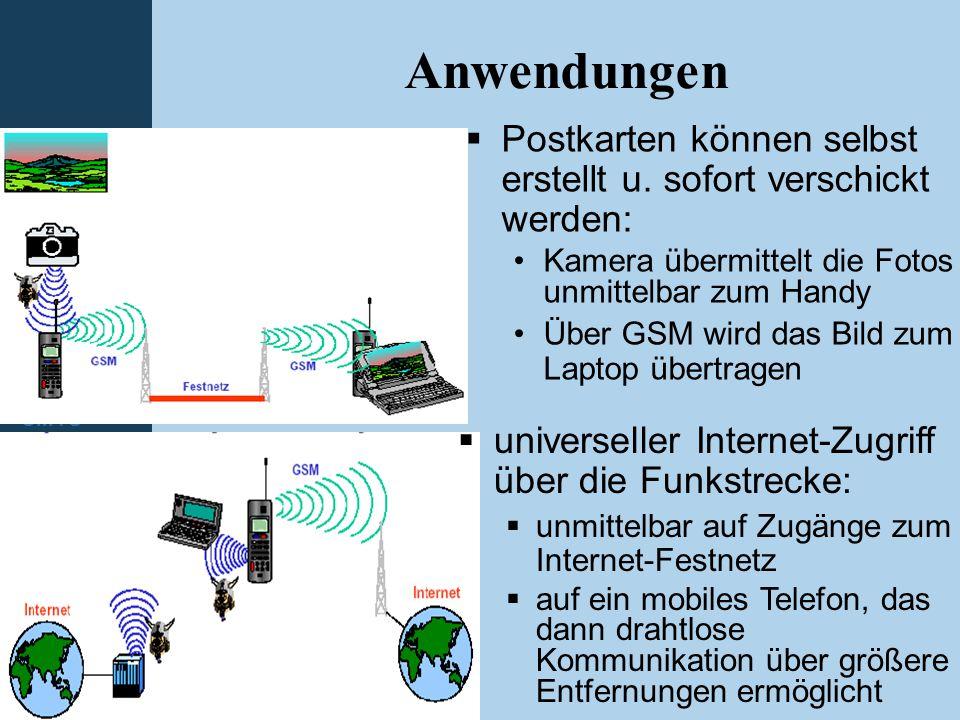 Einleitung WLAN Bluetooth GSM GPRS HSCSD UMTS Anwendungen  Postkarten können selbst erstellt u. sofort verschickt werden: Kamera übermittelt die Foto