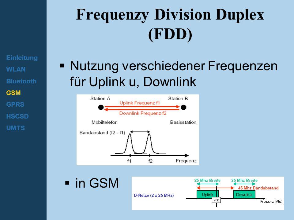 Einleitung WLAN Bluetooth GSM GPRS HSCSD UMTS Frequenzy Division Duplex (FDD)  Nutzung verschiedener Frequenzen für Uplink u, Downlink  in GSM Einle