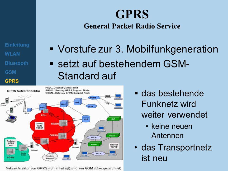 Einleitung WLAN Bluetooth GSM GPRS HSCSD UMTS GPRS General Packet Radio Service  Vorstufe zur 3. Mobilfunkgeneration  setzt auf bestehendem GSM- Sta