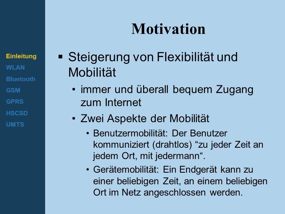 Einleitung WLAN Bluetooth GSM GPRS HSCSD UMTS Motivation  Steigerung von Flexibilität und Mobilität immer und überall bequem Zugang zum Internet Zwei