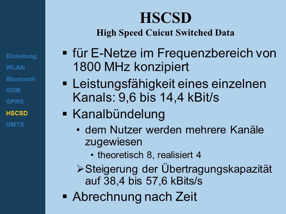 Einleitung WLAN Bluetooth GSM GPRS HSCSD UMTS HSCSD High Speed Cuicut Switched Data  für E-Netze im Frequenzbereich von 1800 MHz konzipiert  Leistun