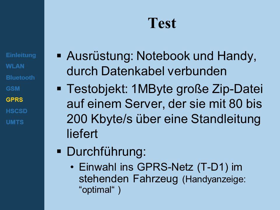 Einleitung WLAN Bluetooth GSM GPRS HSCSD UMTS Test  Ausrüstung: Notebook und Handy, durch Datenkabel verbunden  Testobjekt: 1MByte große Zip-Datei a