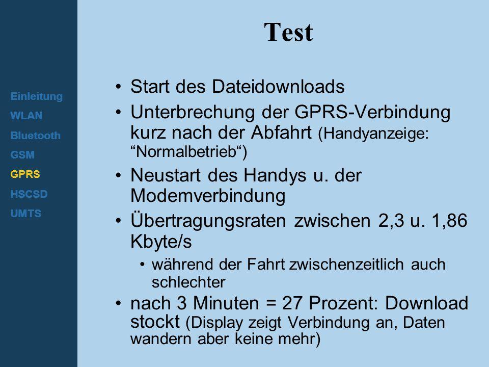 "Einleitung WLAN Bluetooth GSM GPRS HSCSD UMTS Test Start des Dateidownloads Unterbrechung der GPRS-Verbindung kurz nach der Abfahrt (Handyanzeige: ""No"