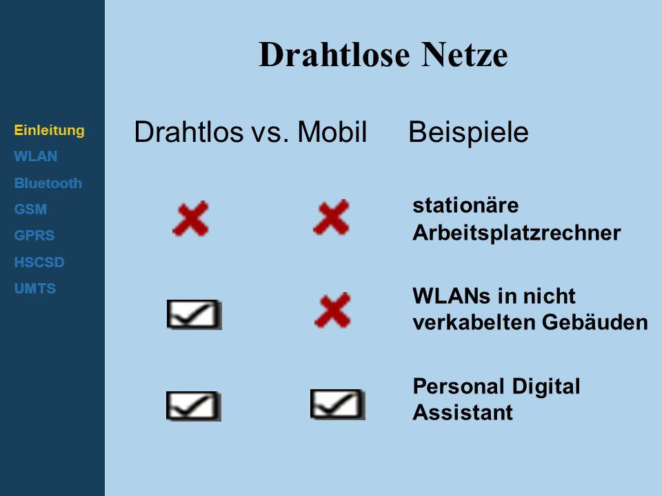 Einleitung WLAN Bluetooth GSM GPRS HSCSD UMTS Drahtlose Netze Drahtlos vs. Mobil Beispiele stationäre Arbeitsplatzrechner WLANs in nicht verkabelten G