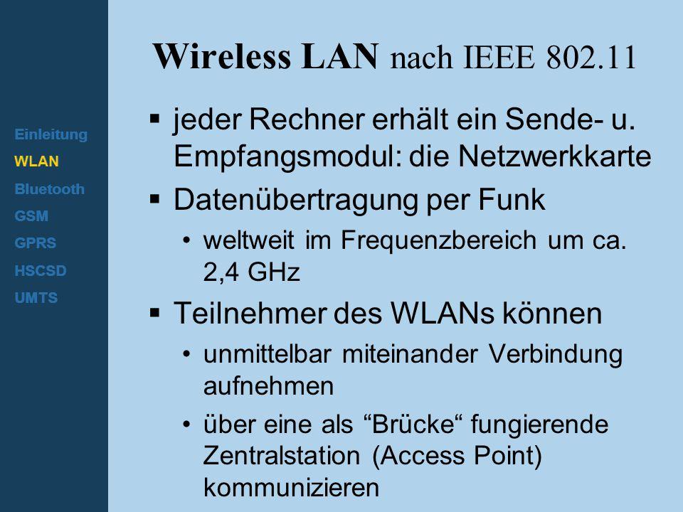 Einleitung WLAN Bluetooth GSM GPRS HSCSD UMTS Architektur - Ad-hoc Netzwerk  Direkte Kommunikation mit begrenzter Reichweite Station (STA): Rechner mit Zugriffsfunktion auf das drahtlose Medium Basis Service Set (BSS): Gruppe von Stationen, die dieselbe Funkfrequenz nutzen => Unterschiedliche BSSs durch Raummultiplex (genügend Abstand) oder Verwendung unterschiedlicher Trägerfrequenzen