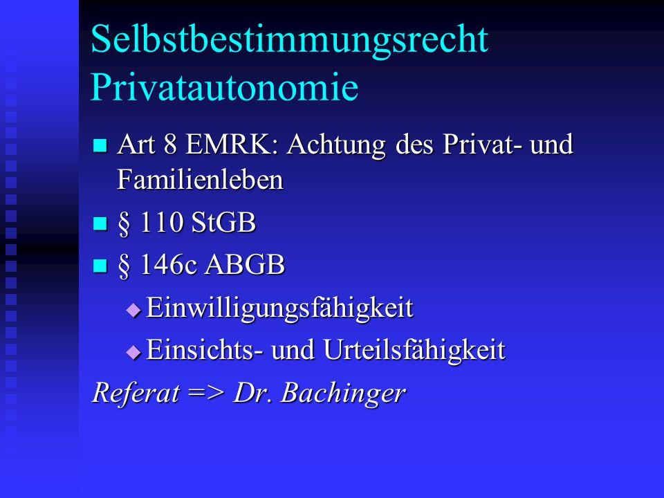 Selbstbestimmungsrecht Privatautonomie Art 8 EMRK: Achtung des Privat- und Familienleben Art 8 EMRK: Achtung des Privat- und Familienleben § 110 StGB