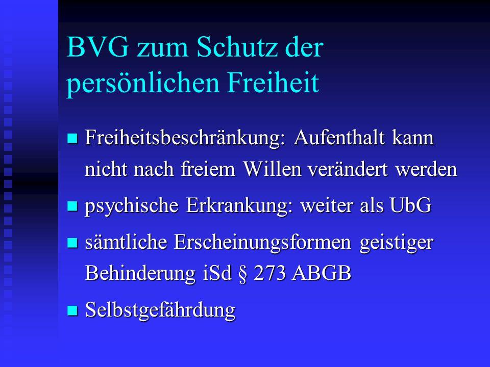 BVG zum Schutz der persönlichen Freiheit Freiheitsbeschränkung: Aufenthalt kann nicht nach freiem Willen verändert werden Freiheitsbeschränkung: Aufen