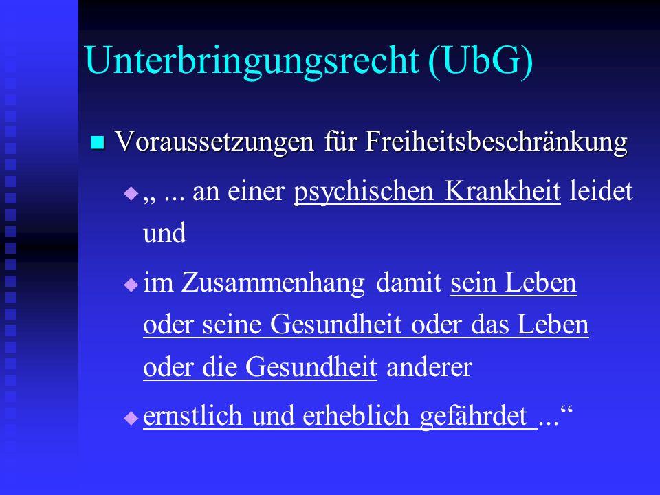 """Unterbringungsrecht (UbG) Voraussetzungen für Freiheitsbeschränkung Voraussetzungen für Freiheitsbeschränkung   """"... an einer psychischen Krankheit"""