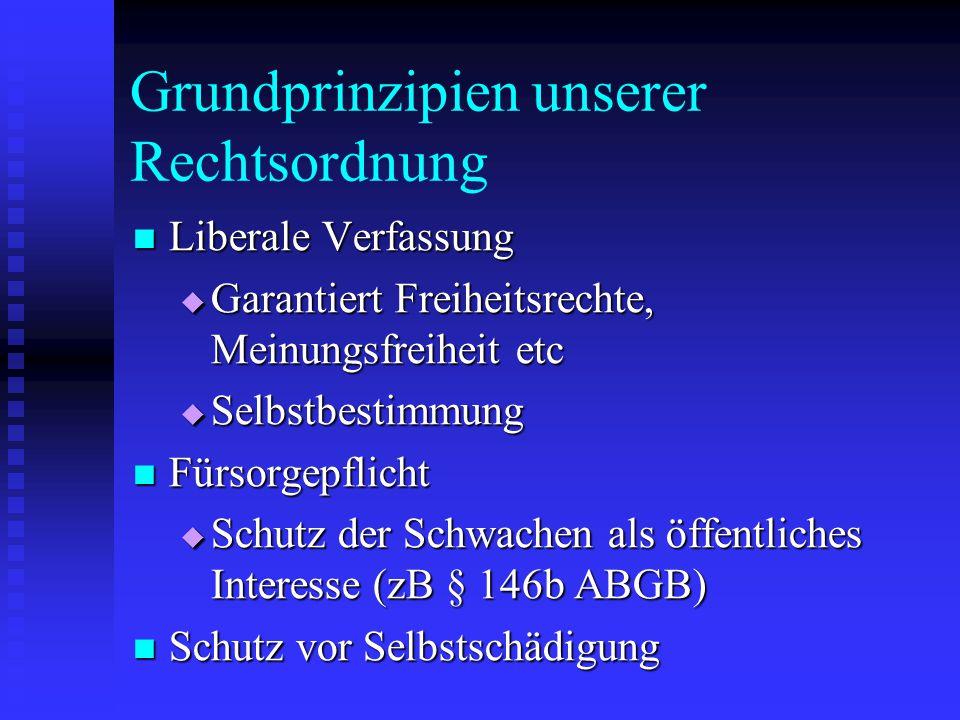 Grundprinzipien unserer Rechtsordnung Liberale Verfassung Liberale Verfassung  Garantiert Freiheitsrechte, Meinungsfreiheit etc  Selbstbestimmung Fü