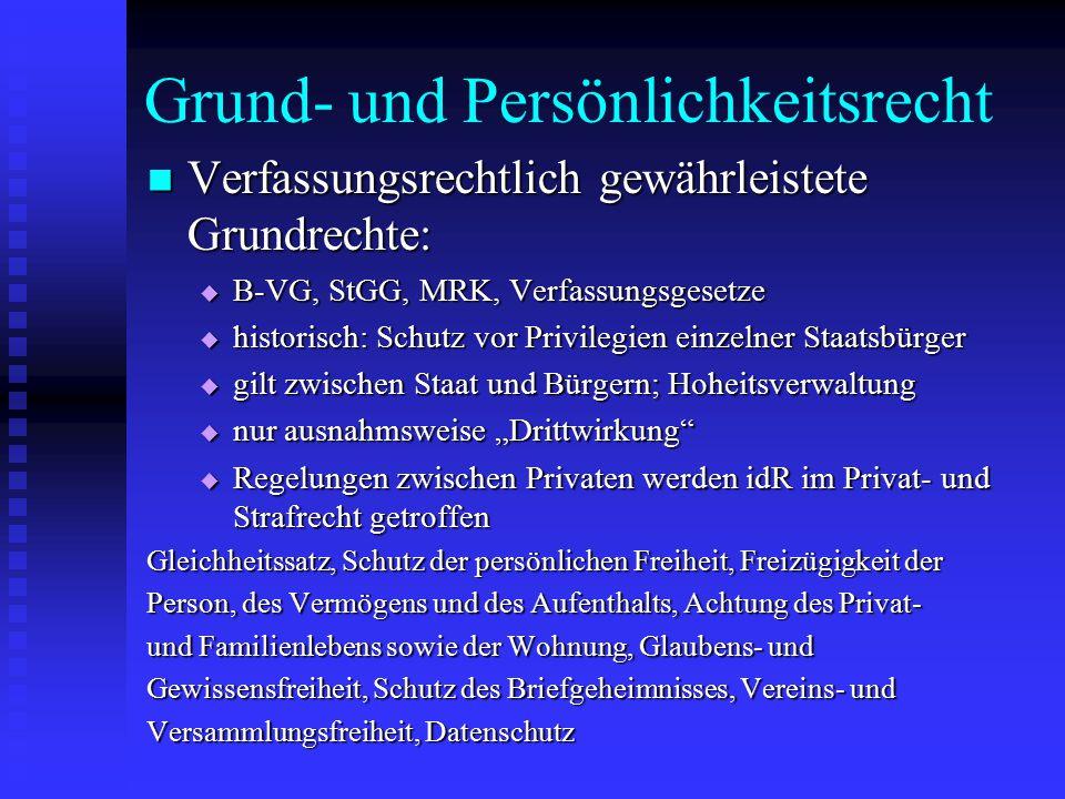 Grund- und Persönlichkeitsrecht Verfassungsrechtlich gewährleistete Grundrechte: Verfassungsrechtlich gewährleistete Grundrechte:  B-VG, StGG, MRK, V