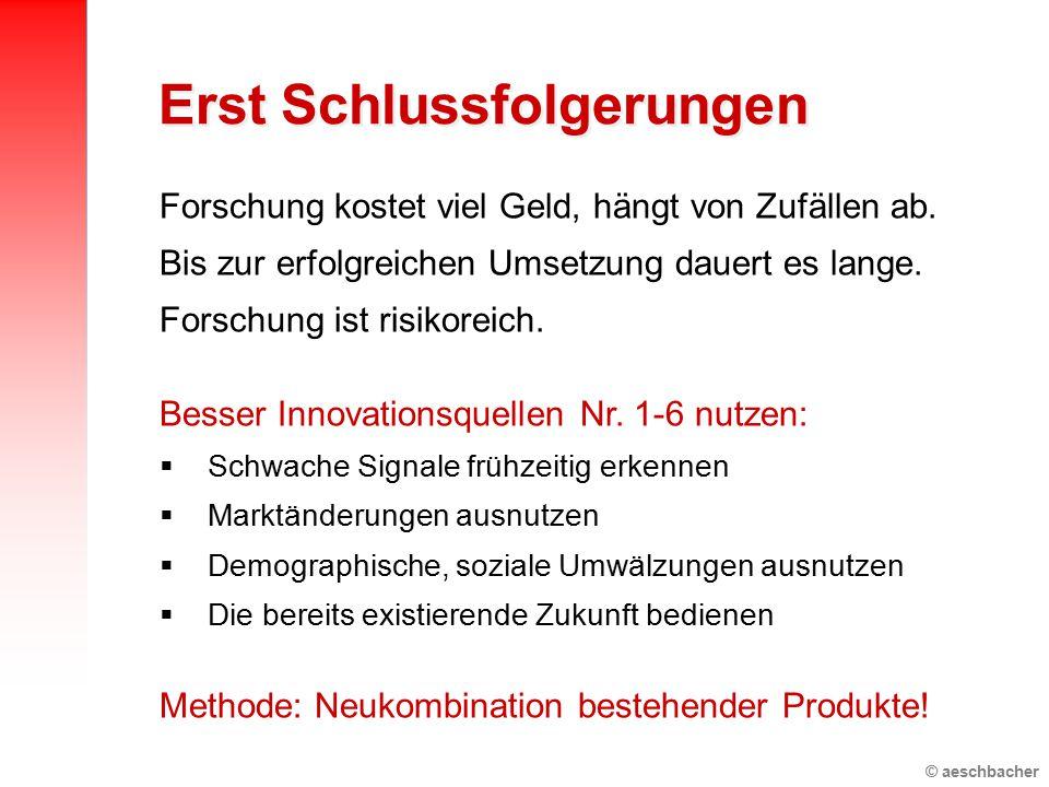 © aeschbacher Forschung kostet viel Geld, hängt von Zufällen ab. Bis zur erfolgreichen Umsetzung dauert es lange. Forschung ist risikoreich. Besser In