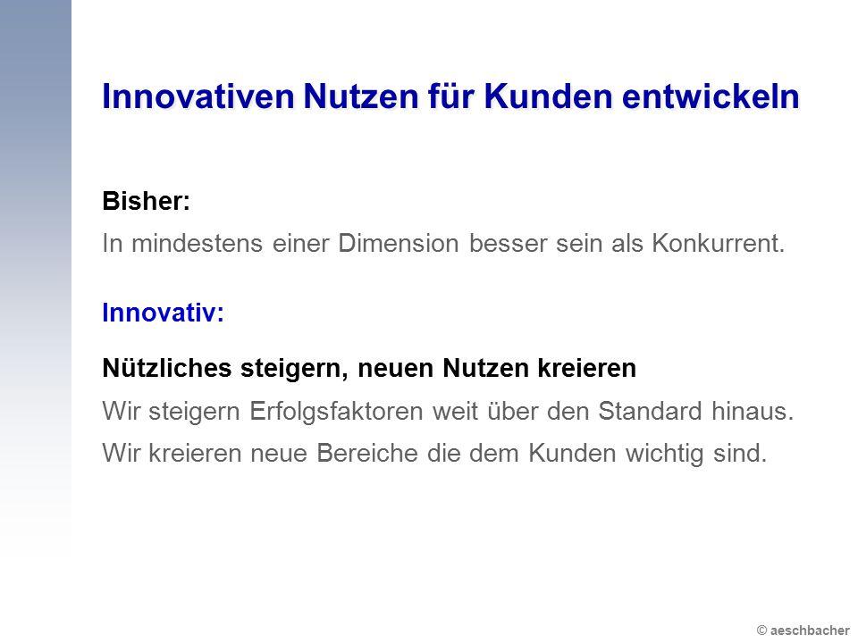 © aeschbacher Innovativen Nutzen für Kunden entwickeln Bisher: In mindestens einer Dimension besser sein als Konkurrent. Innovativ: Nützliches steiger