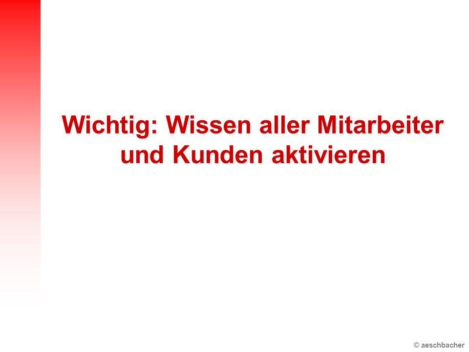 © aeschbacher Wichtig: Wissen aller Mitarbeiter und Kunden aktivieren