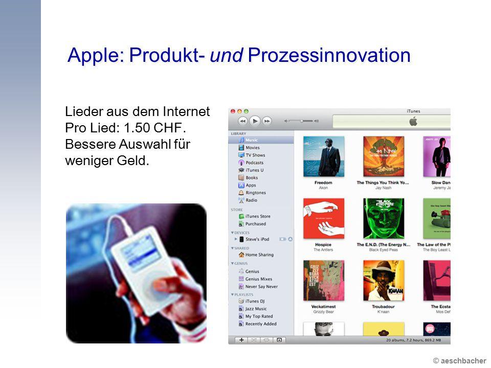 © aeschbacher Apple: Produkt- und Prozessinnovation Lieder aus dem Internet Pro Lied: 1.50 CHF. Bessere Auswahl für weniger Geld.