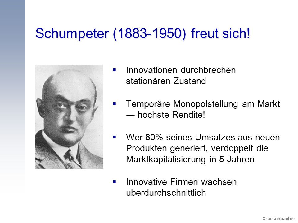 © aeschbacher Schumpeter (1883-1950) freut sich!  Innovationen durchbrechen stationären Zustand  Temporäre Monopolstellung am Markt → höchste Rendit