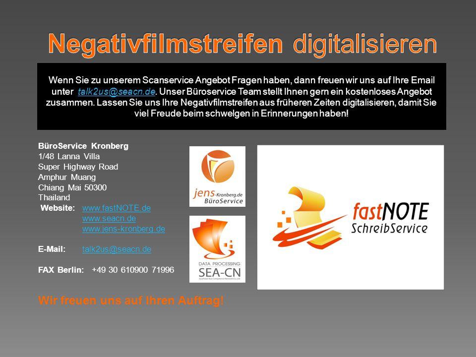 Wenn Sie zu unserem Scanservice Angebot Fragen haben, dann freuen wir uns auf Ihre Email unter talk2us@seacn.de.