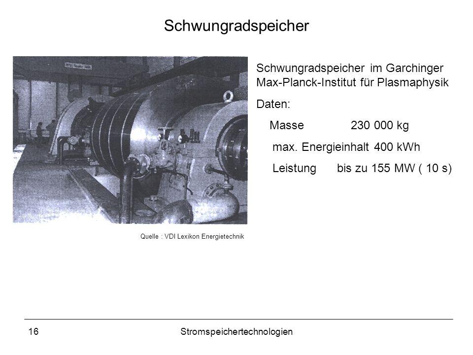 16Stromspeichertechnologien Schwungradspeicher Schwungradspeicher im Garchinger Max-Planck-Institut für Plasmaphysik Daten: Masse230 000 kg max. Energ
