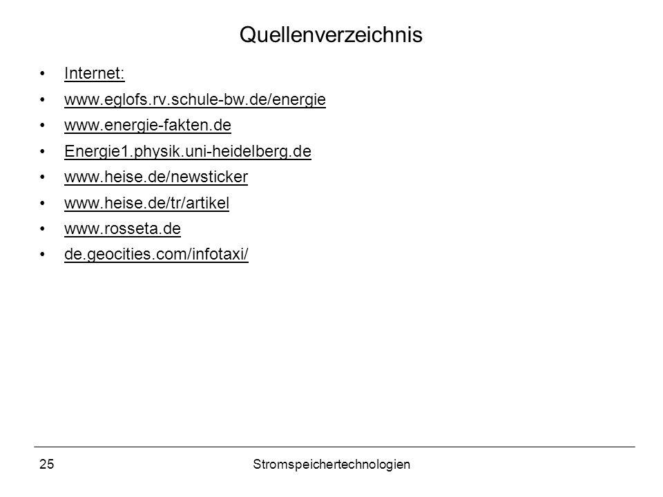 25Stromspeichertechnologien Quellenverzeichnis Internet: www.eglofs.rv.schule-bw.de/energie www.energie-fakten.de Energie1.physik.uni-heidelberg.de ww