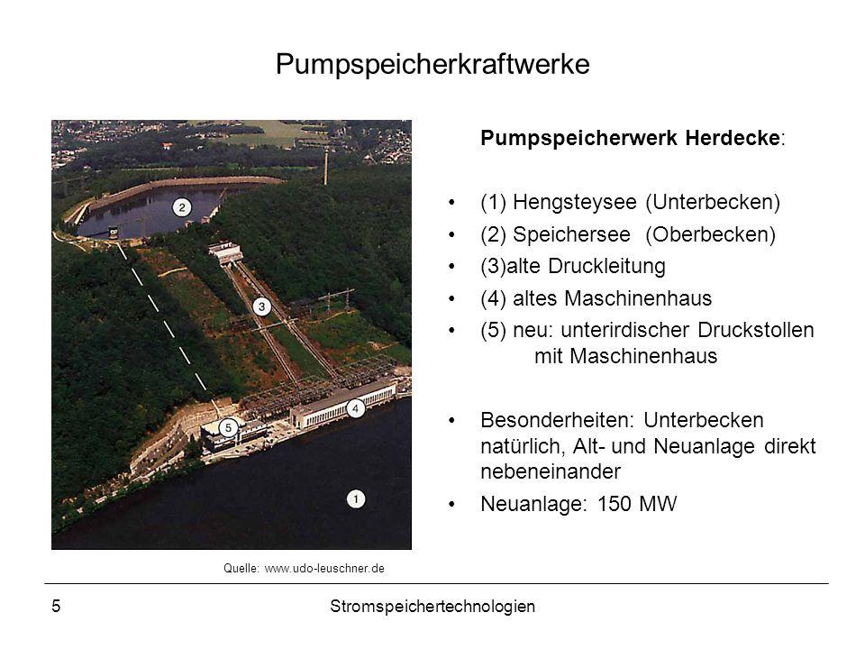 5Stromspeichertechnologien Pumpspeicherkraftwerke Pumpspeicherwerk Herdecke: (1) Hengsteysee (Unterbecken) (2) Speichersee (Oberbecken) (3)alte Druckl
