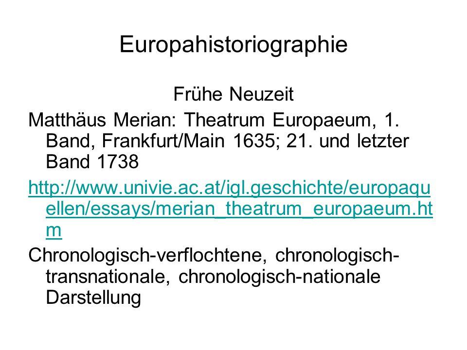 Europahistoriographie Frühe Neuzeit Matthäus Merian: Theatrum Europaeum, 1.