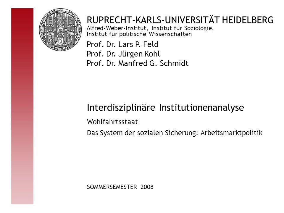 RUPRECHT-KARLS-UNIVERSITÄT HEIDELBERG Prof. Dr. Lars P. Feld Prof. Dr. Jürgen Kohl Prof. Dr. Manfred G. Schmidt Alfred-Weber-Institut, Institut für So