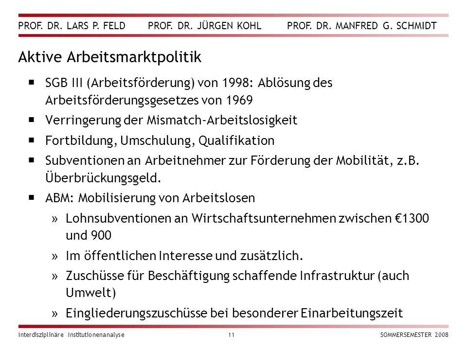 PROF. DR. LARS P. FELD PROF. DR. JÜRGEN KOHL PROF. DR. MANFRED G. SCHMIDT Interdisziplinäre Institutionenanalyse11SOMMERSEMESTER 2008 Aktive Arbeitsma