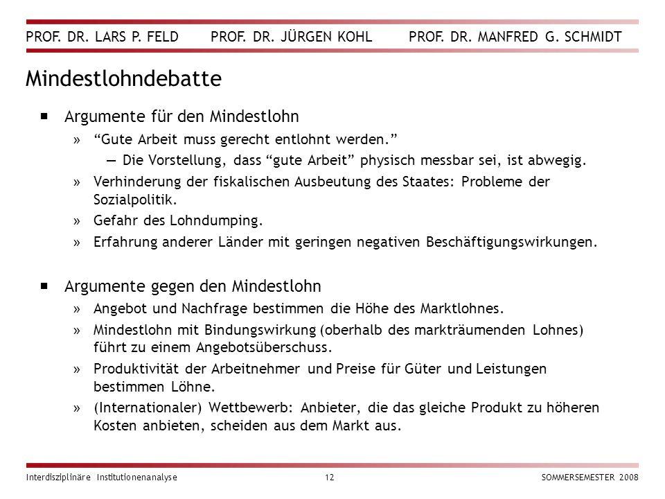 PROF. DR. LARS P. FELD PROF. DR. JÜRGEN KOHL PROF. DR. MANFRED G. SCHMIDT Interdisziplinäre Institutionenanalyse12SOMMERSEMESTER 2008 Mindestlohndebat