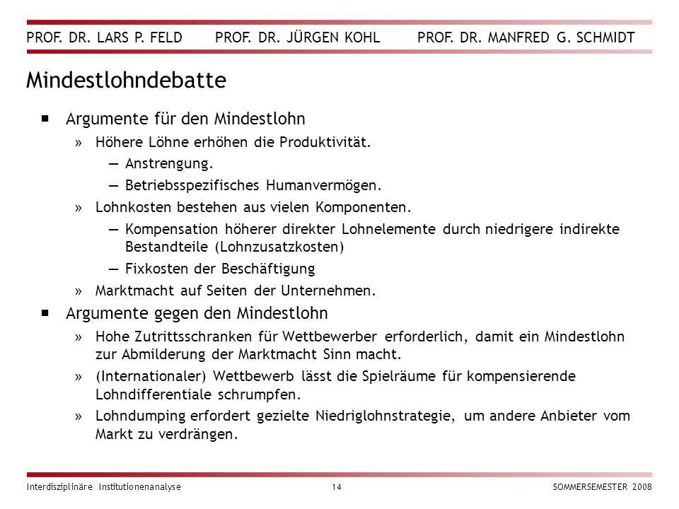 PROF. DR. LARS P. FELD PROF. DR. JÜRGEN KOHL PROF. DR. MANFRED G. SCHMIDT Interdisziplinäre Institutionenanalyse14SOMMERSEMESTER 2008 Mindestlohndebat