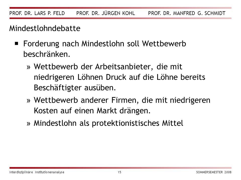 PROF. DR. LARS P. FELD PROF. DR. JÜRGEN KOHL PROF. DR. MANFRED G. SCHMIDT Interdisziplinäre Institutionenanalyse15SOMMERSEMESTER 2008 Mindestlohndebat
