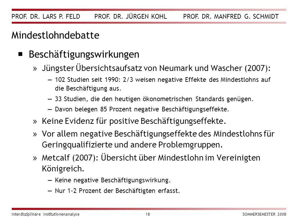 PROF. DR. LARS P. FELD PROF. DR. JÜRGEN KOHL PROF. DR. MANFRED G. SCHMIDT Interdisziplinäre Institutionenanalyse18SOMMERSEMESTER 2008 Mindestlohndebat