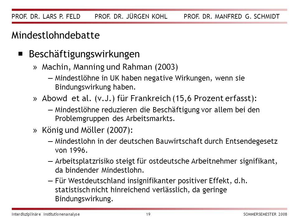 PROF. DR. LARS P. FELD PROF. DR. JÜRGEN KOHL PROF. DR. MANFRED G. SCHMIDT Interdisziplinäre Institutionenanalyse19SOMMERSEMESTER 2008 Mindestlohndebat