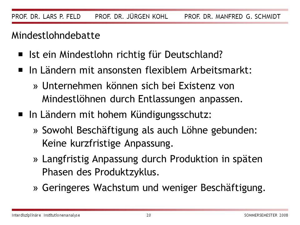 PROF. DR. LARS P. FELD PROF. DR. JÜRGEN KOHL PROF. DR. MANFRED G. SCHMIDT Interdisziplinäre Institutionenanalyse20SOMMERSEMESTER 2008 Mindestlohndebat