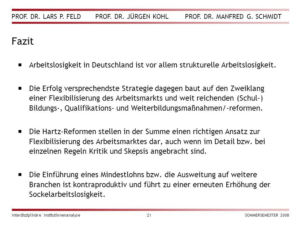 PROF. DR. LARS P. FELD PROF. DR. JÜRGEN KOHL PROF. DR. MANFRED G. SCHMIDT Interdisziplinäre Institutionenanalyse21SOMMERSEMESTER 2008 Fazit  Arbeitsl