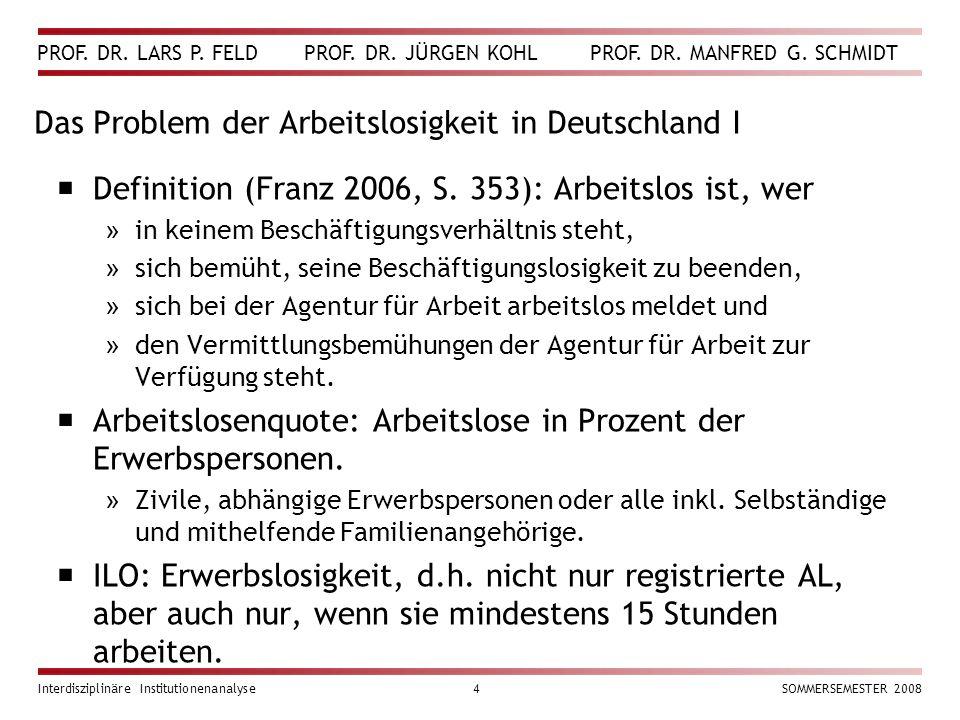 PROF. DR. LARS P. FELD PROF. DR. JÜRGEN KOHL PROF. DR. MANFRED G. SCHMIDT Interdisziplinäre Institutionenanalyse4SOMMERSEMESTER 2008 Das Problem der A