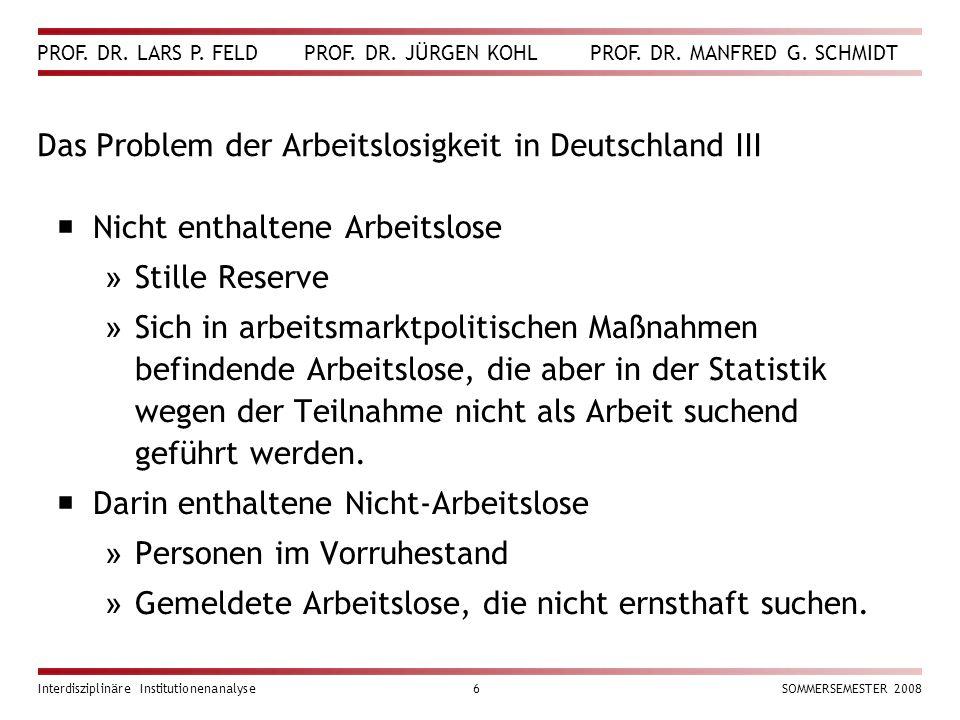 PROF. DR. LARS P. FELD PROF. DR. JÜRGEN KOHL PROF. DR. MANFRED G. SCHMIDT Interdisziplinäre Institutionenanalyse6SOMMERSEMESTER 2008 Das Problem der A