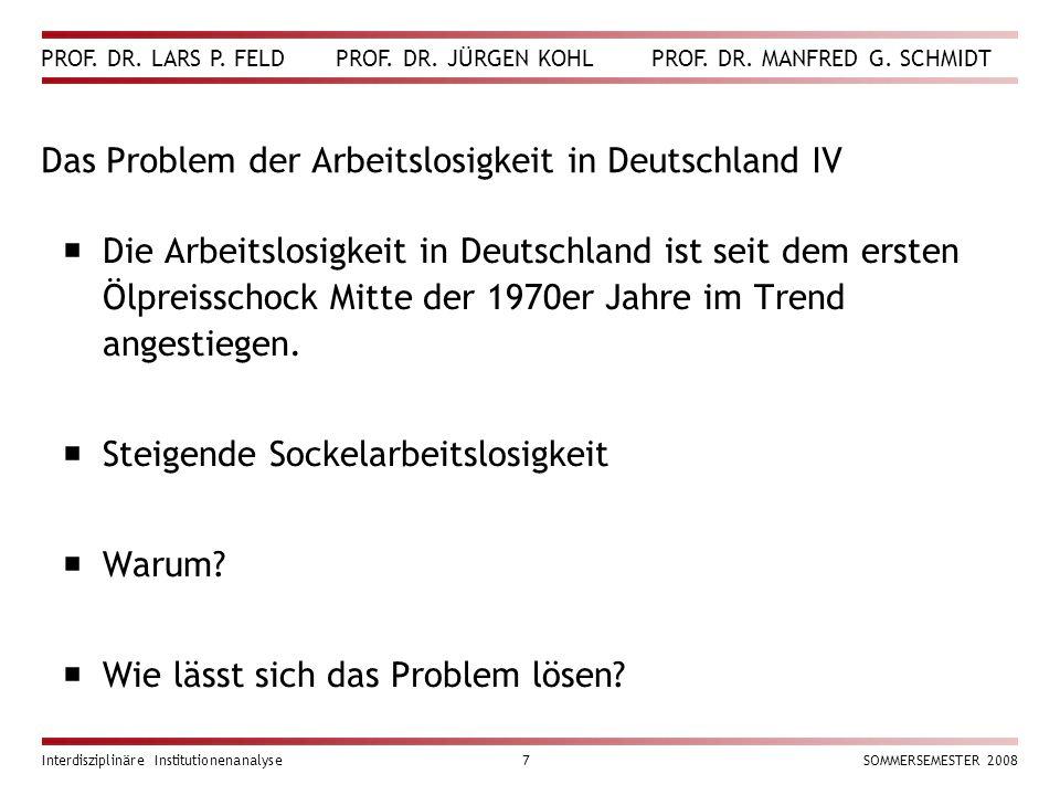 PROF. DR. LARS P. FELD PROF. DR. JÜRGEN KOHL PROF. DR. MANFRED G. SCHMIDT Interdisziplinäre Institutionenanalyse7SOMMERSEMESTER 2008 Das Problem der A